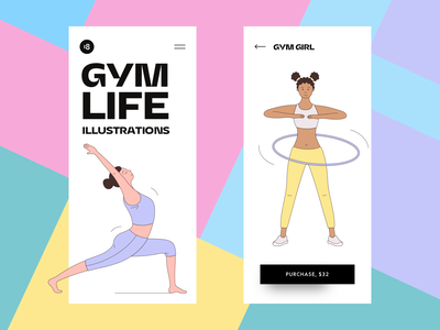 GYM LIFE Illustrations 😍 application typography minimalims ui hero character gym characters colorful colors sport illustration sport gym illustration gym design illustration uidesign clean ui clean ui minimalism 18design