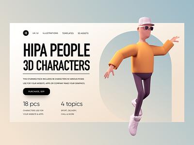 Hipa People 3D Characters download ui8 trendy minimalism ui hero colors colorful 3d men 3d characters 3d people 3d illustration 3d character 3d illustration uidesign clean ui clean ui minimalism 18design