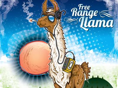 Free Range Llama illustration character design cartoon llama fun free range animals color arizona