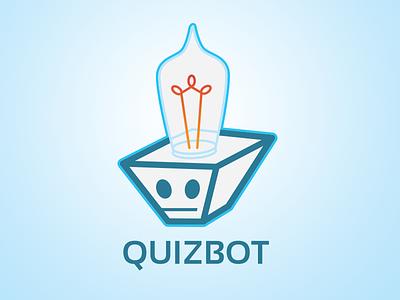 Quizbot poll character logo illustration fun lightbulb blue learning robot bot quizbot quiz