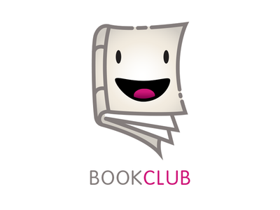 Bookclub book club reading app logo character smile happy face book