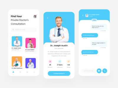 Doctor Consultation Mobile App Exploration online ios videocall call android app design medical minimal ux ui simple health app health doctor design consultation chat app application android app android
