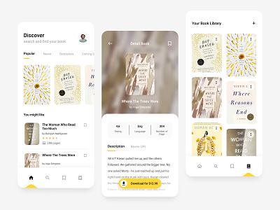 Bookstore Mobile App Exploration yellow card reading app reading bookstore books mobile clean ui app design simple design android app design android app android app