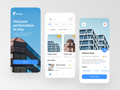 Tamago ~ Hotel Booking UI KIT Exploration 🏨 mobile app android app android app design app simple clean design mobile accommodation room hotel booking hotel booking app reservations hotel hostel hotel app ui ui design mobile design booking app