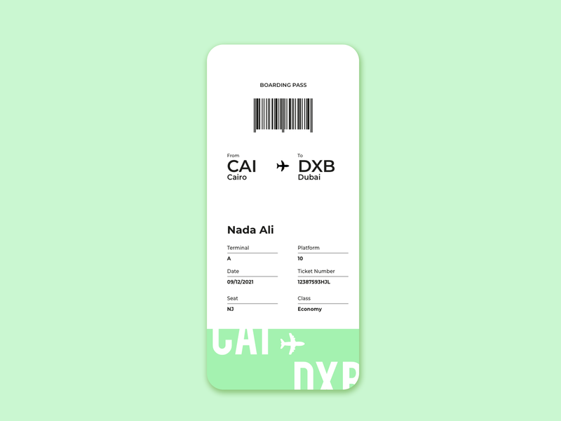 Daily UI Challenge: Boarding Pass (Day 24) app web ux ui ui  ux dailyui design uidesign dailyuichallenge daily 100 challenge