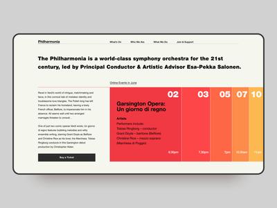UK Philharmonia Website Concept grid typography bauhaus concept website web design app animation 2020 trend flat ux ui