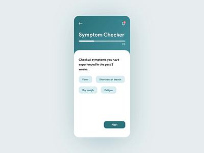 Virus Tracking App — Symptom Checker virus covid 19 covid-19 covid19 covid product design product healthcare ios medicine medical mobile design app animation 2020 trend flat ux ui