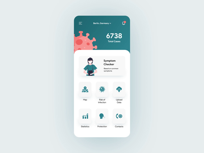 Virus Tracking App — Document Scanning covid-19 virus document scanning scanner health app healthcare medical app medical medicine illustration mobile app design animation 2020 trend flat ux ui