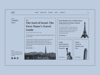 Travel Diary Concept traveling travel blog diary website design webdesign web design web website monochrome flat 2020 trend ux ui