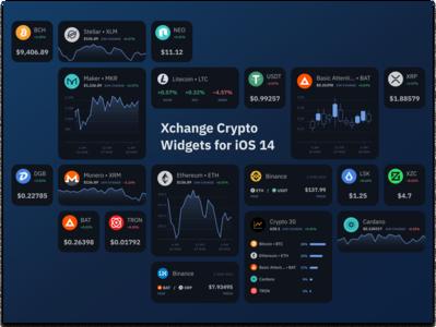 Xchange — Crypto Platform Widgets for iOS 14 web design dark crypto exchange ios14 ios widget ethereum dark ui cryptocurrency crypto web bitcoin website design flat 2020 trend ux ui