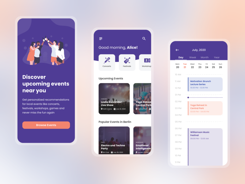 Event Discovery App calendar concert event app events event app mobile design flat 2020 trend ux ui