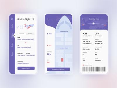 Ticket Booking App Concept product design flight search flight ticket booking mobile app design flat 2020 trend ux ui
