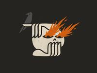 Asymmetric Balance eyes texture grit dark illustration drawing hands skull fire flames bird