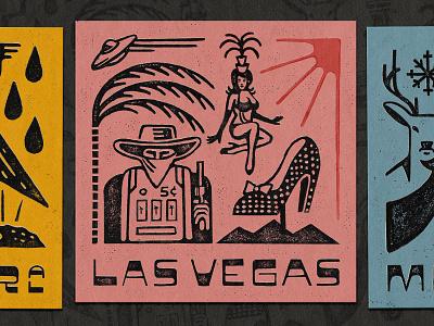 Places That Shaped Me procreate woodcut snake heron gator bandit ufo palmtree lighthouse mustang slot machine deer texture typography lettering illustration vintage