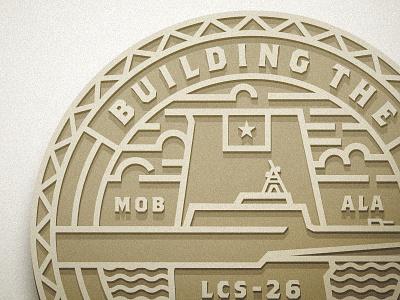 LCS Logo/Coin clouds sea maritime naval ship alabama gold monoweight coin badge logo