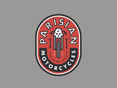 Parisian Motorcycles branding skull moto motorcycle badge logo