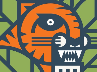 Creepin' Tigre detroit jungle leaves illustration cat geometric tiger