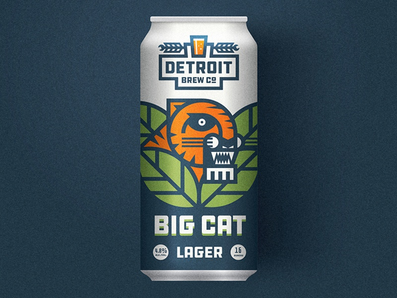 Big Cat barley hops lager illustration tiger detroit beer can label packaging beer