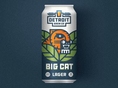 Big Cat barley hops lager illustration tiger detroit beer can label packaging beer