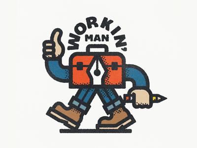 Workin' Man pen tool toolbox jeans boots thumbs up handyman work halftone retro character illustration