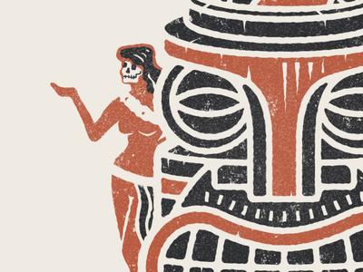 Mobile Tiki Week Detail hula hawaiian polynesian illustration face skull tiki