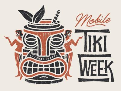 Mobile Tiki Week Full alabama logo island surf typography hula hawaiian polynesian illustration face skull tiki