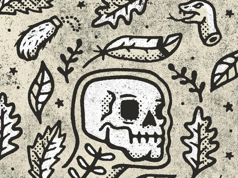 Lucky Wallpaper Pattern halloween halftone grit foliage leaves skeleton skull luck rabbit foot snake tattoo flash