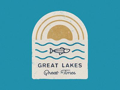 Great Lakes Great Times retro midwest fish lakes michigan logo badge
