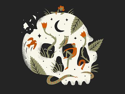Dreamy Weekend Vibes eyes leaves dreamy death snake owl texture foliage procreate skull