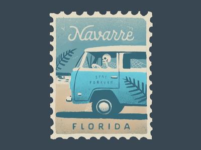 Navarre, FL illustration vintage sand procreate stamp skeleton vw vacation beach