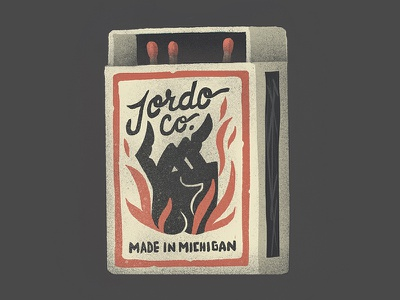 Jordo Co. lettering script illustration hand michigan fire vintage matchbox