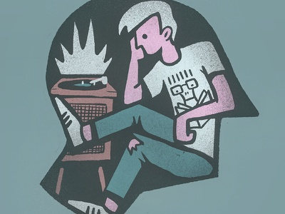 Just Listening head illustration listen youth punk record player music