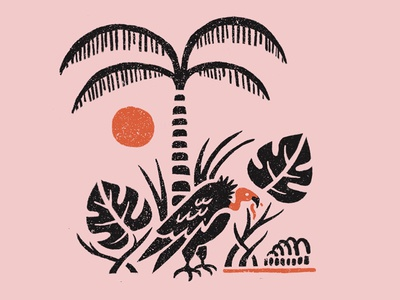 Tropic Vulture ribs sun floral leaves palm tree woodcut retro tropical hand drawn vulture