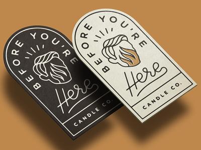 BYH Label script flame candle label logo branding