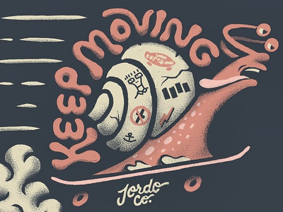 Keep Moving retro supply ipadpro procreate lettering punk skating skateboard snail illustration