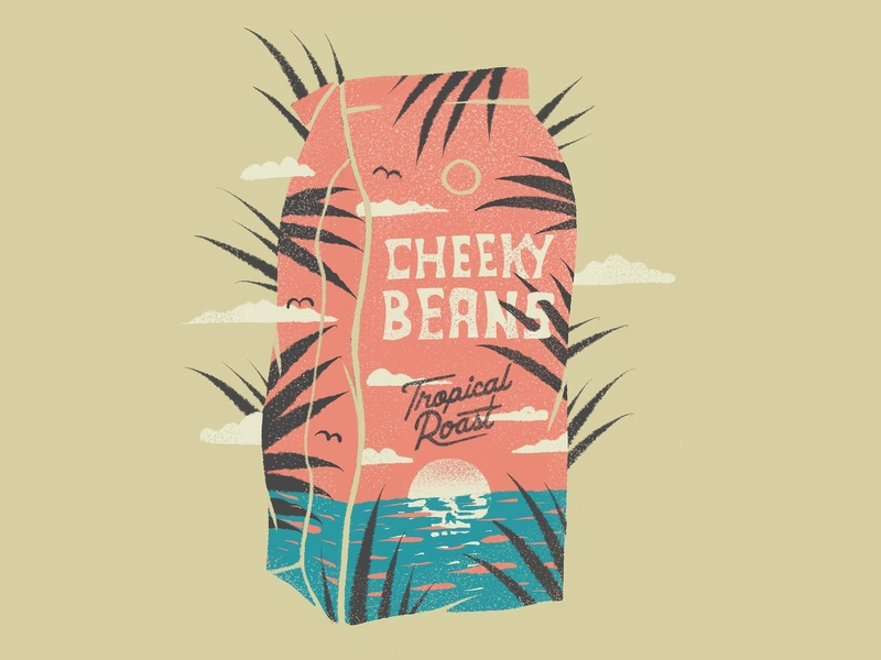 Tropical Beans branding procreate coffee bag lettering package island ocean sunset sun skull illustration coffee
