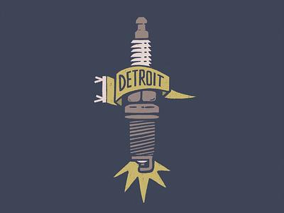 Spark procreate lettering spark fire motor city gritty texture motown automotive michigan pennant banner hand drawn spark plug detroit