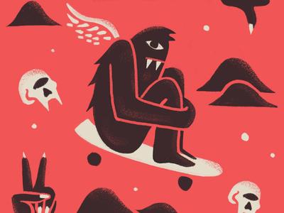 Bomb Hills wing minimal red and black texture monster skull skateboard pattern illustration