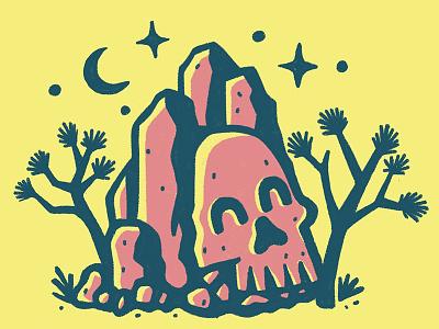 Joshua Tree handlettering desert handdrawn skull trees rocks nationalpark park joshuatree
