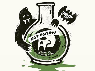 Not Poison poisonous cute dark lettering bat skull texture grit illustration label bottle monster october poision inktober