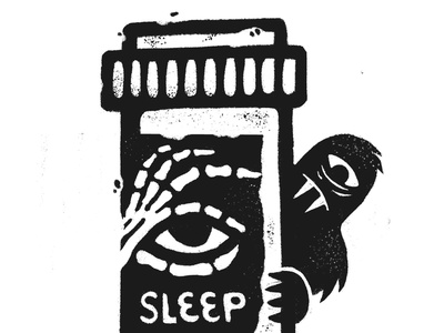Sleep-in Pills exhausted handdrawntype handdrawn retrosupplyco procreate creature gritty rough skeleton sleep drugs pills pharma pharmacy inktober