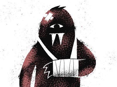 Swollen texture gritty rough broken eye illustration character swollen inktober