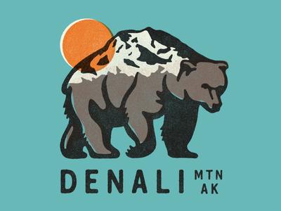 Denali Mountain wildlife nationalparks alaska bear mountain outdoors illustration tshirt