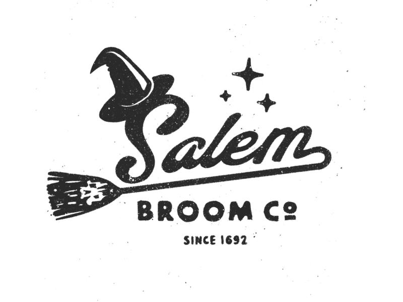 Salem Broom Co. procreate texture branding inktober vintage hat skull witch halloween retro logo script