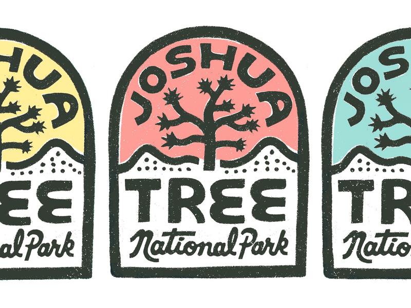 JT Tombstone Badge josh california script hand lettering lettering national park tree logo handdrawn badge joshua tree