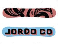 Jordo Co Snek on a Snowboard
