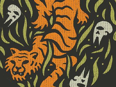Wonky Tiger Feast danger feast eating hunting bones creature jungle illustration texture grass skulls cat tiger