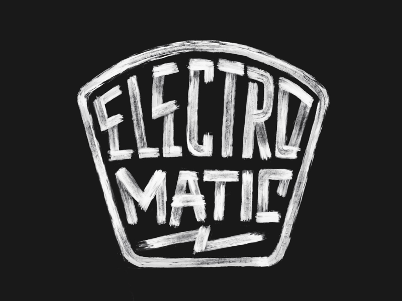 ⚡️ photoshop gritty paintbrush electric logo badge retro texture typography lettering