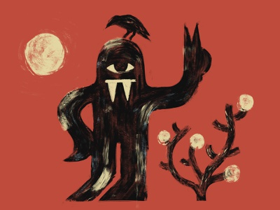 New brush, who dis? jordo cyclops monster creature hot peace crow dry painting sun desert bush illustration procreate brush