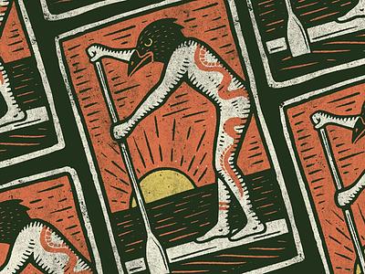 Summer Curse tattoo snake waves ocean paddle board crow illustration